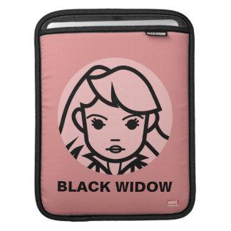 Black Widow Stylized Line Art Icon Sleeve For iPads