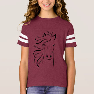 Black Wild Horse Girl T-Shirt