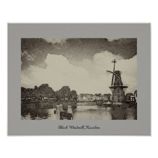 Black Windmill , Haarlem, Netherlands Poster