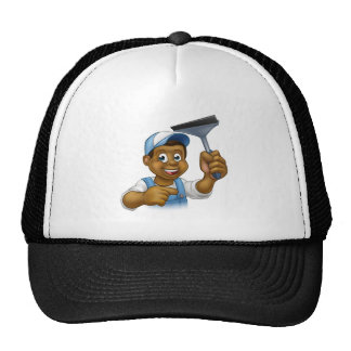 Black Window Cleaner With Squeegee Trucker Hat