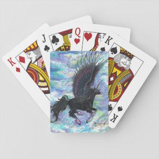 Black Winged Unicorn Playing Cards