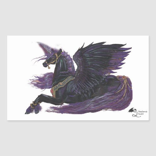 Black Winged Unicorn Sticker