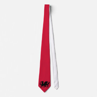 Black Winged Wales Dragon Silhouette on Red Tie