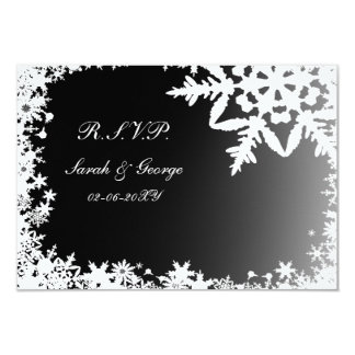 "black winter wedding rsvp standard 3.5 x 5 3.5"" x 5"" invitation card"