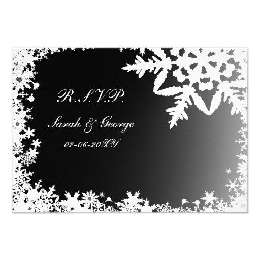 black winter wedding rsvp standard 3.5 x 5 personalized invites