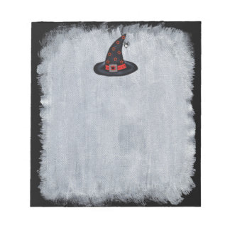 Black Witch Hat Stars Cute Spider Halloween Notepad
