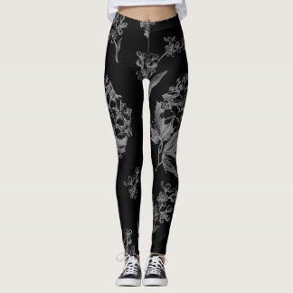 Black With Antique Flowers Leggings