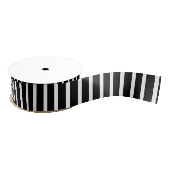 Black with Bold White Stripes Grosgrain Ribbon