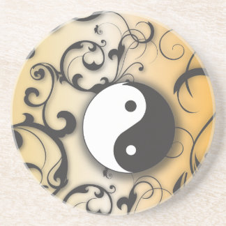 Black with bronze yin & yang coaster