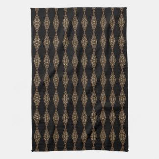 Black with Brown Diamond Stripe Kitchen Tea Towel