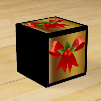 Black with Brushed Gold and Red Bow Favour Box Favor Boxes