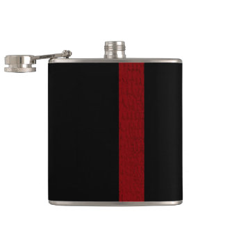Black with Burgandy Strip Flask