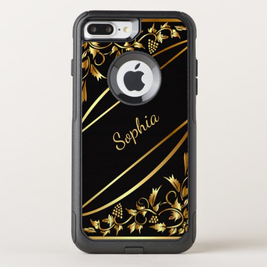 Black with chic gold coloured classic decor name OtterBox commuter iPhone 7 plus case