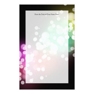 Black with Colorful Bokeh Lights Design Stationery