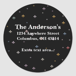 Black with Colorful Fleurs Address Labels