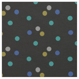 Black with Colorful Polka Dot Pattern Fabric
