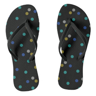 Black with Colorful Polka Dot Pattern Flip Flops
