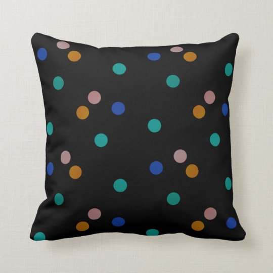 Black with Colourful Polka Dots Throw Pillow