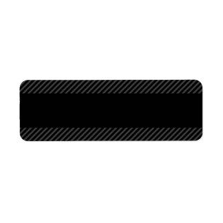 Black with diagonal dark gray border stripes return address label