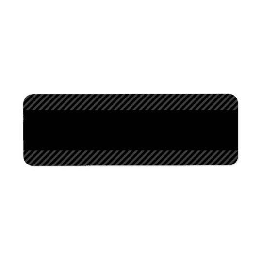 Black with diagonal dark grey border stripes return address label