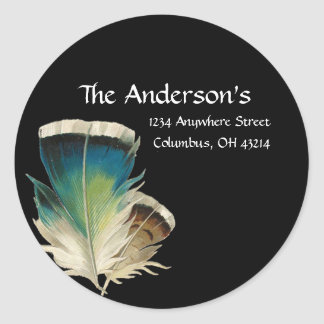 Black with Feathers Address Labels