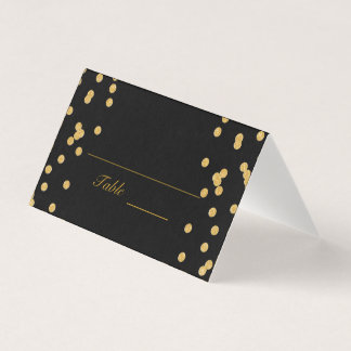 Black with Gold Confetti Place Card