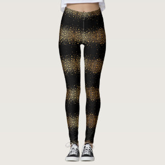 black with gold dots pattern leggings