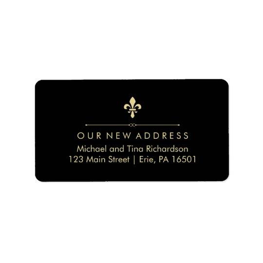 Black with Gold Fleur de Lis New Address