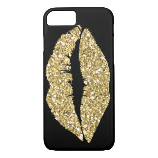 Black with Gold Glam Lips Case-Mate iPhone Case