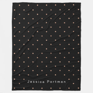 Black with Gold Look Dots Add Name Fleece Blanket