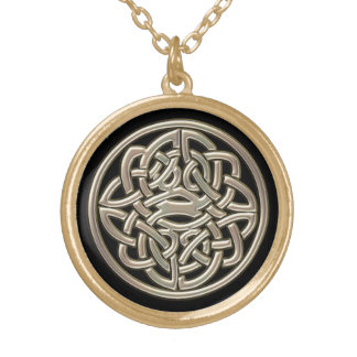 Black With Gold Metal Celtic Knot Round Pendant Necklace