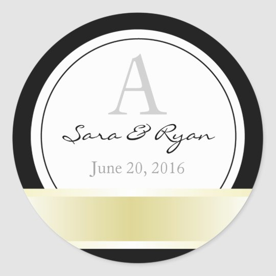 Black with gold ribbon & monogram wedding sticker