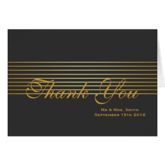 Black with Gold Striped Sleek Thank You Card