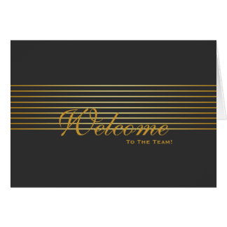 Black with Gold Striped Sleek Welcome Card