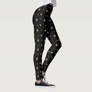 Black with Golden Stars Leggings