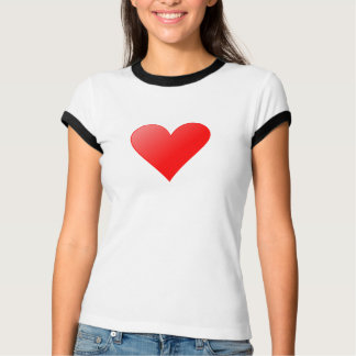 /Black with heart knows ladies Ringer T-shirt