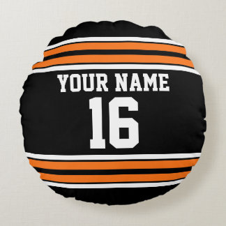 Black with Orange White Stripes Team Jersey Round Pillow