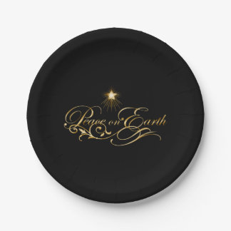Black with Ornate Gold Peace on Earth Paper Plates