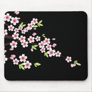 Black with Pink and Green Cherry Blossom Sakura Mouse Pad
