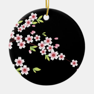 Black with Pink and Green Cherry Blossom Sakura Round Ceramic Ornament