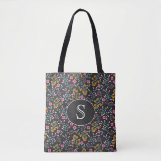 Black with Pink and Yellow Floral Monogram Tote Bag
