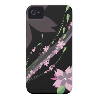 Black with pink flowers stylish blackberry bold Case-Mate iPhone 4 case