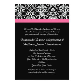 Black with Pink Passion Damask Card