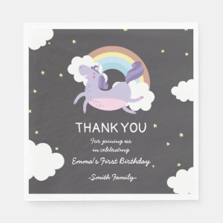 Black with Rainbow Unicorn. Birthday Thank You. Paper Napkin