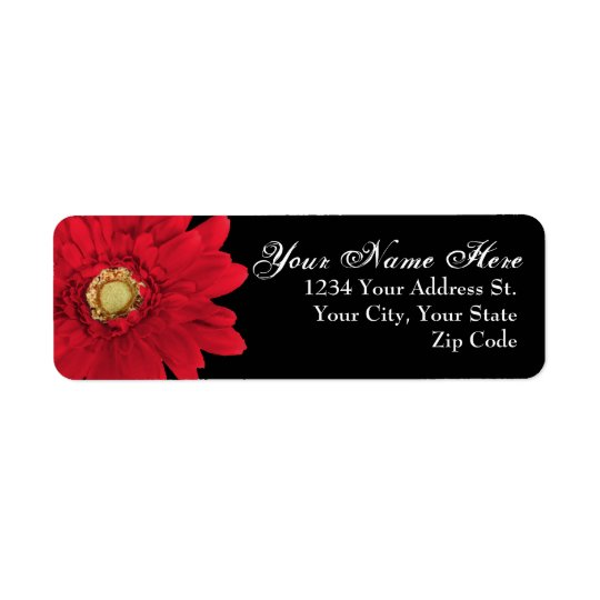 Black with Red Daisy Return Address Labels