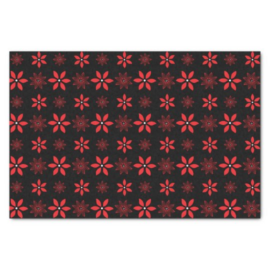Black with red flowers tissue paper