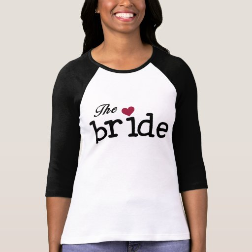 Black with Red Heart Bride Tee Shirt