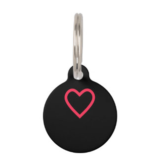 Black with Red Heart Round Small Dog Tag