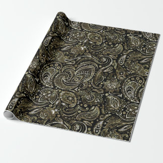 Black With Silver & Gold Floral Paisley Wrapping Paper