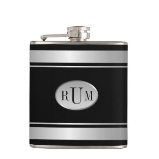 Black with Silver Stripes Borders Monogram Flask
